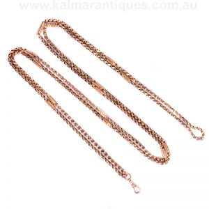 antique rose gold fancy guard chain measuring 154cm in length