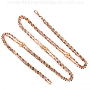 Antique rose gold guard chain measuring 145cm in length
