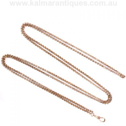 Antique Victorian era rose gold guard chain measuring 130cm