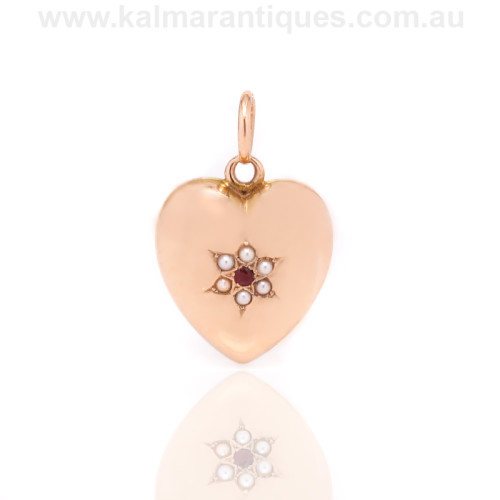 Antique ruby and pearl locket