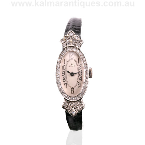 18ct white gold Art Deco ladies diamond Rolex watch
