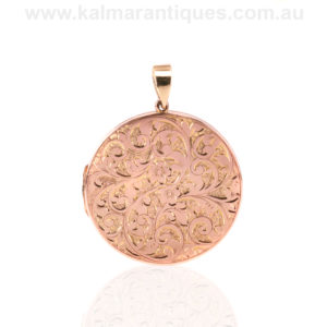 Hand engraved antique rose gold photo locket made in 1918