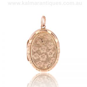 Antique rose gold hand engraved locket made in 1913