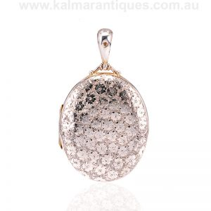 Antique sterling silver hand engraved photo locket