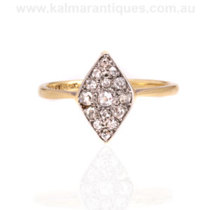 Antique diamond lozenge ring