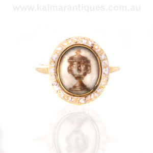 Antique white mourning ring of an unwed woman