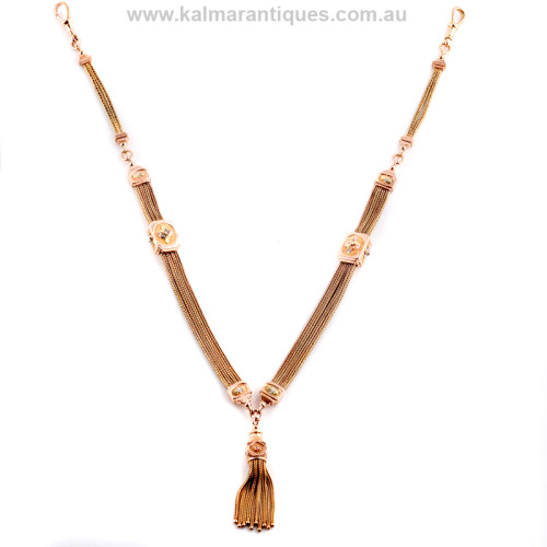 Antique 3 colour gold necklace with tassel