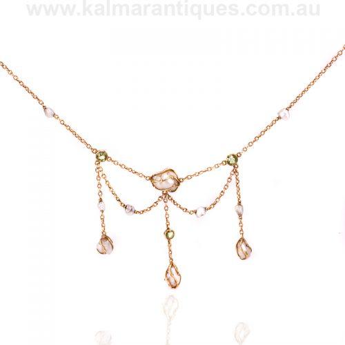 Arts and Crafts era peridot and natural pearl necklace