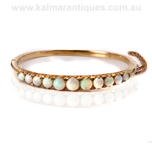 Antique opal and diamond bangle