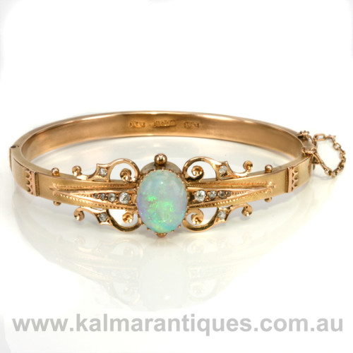 Antique opal and diamond bangle by Denis Brothers