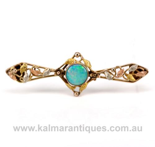 Antique 3 colour gold opal brooch