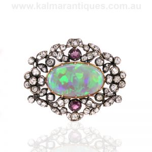 19th century antique opal, diamond and pink topaz brooch