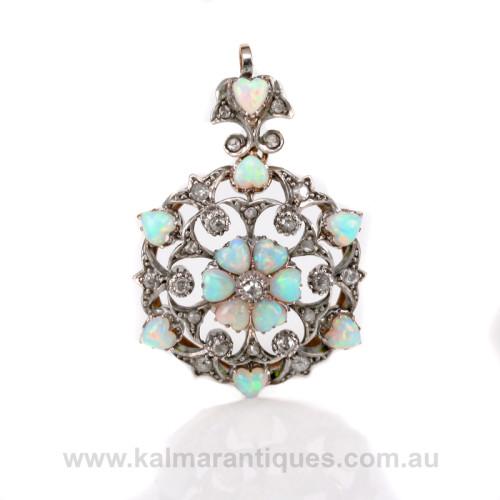 Antique opal and diamond pendant