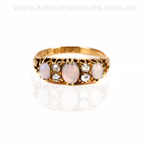 Antique opal and diamond ring made in 1908
