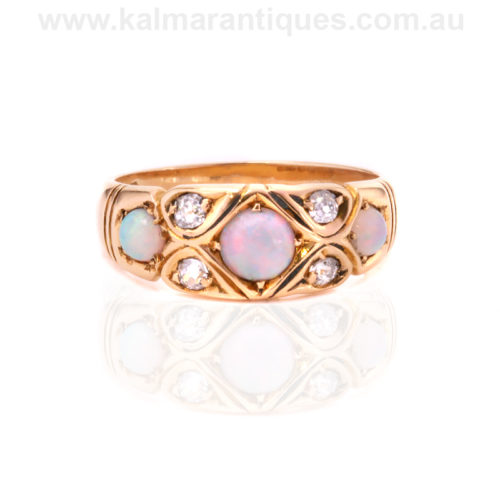 18ct gold antique opal and diamond ring made in 1883