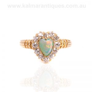 Antique opal and diamond made in 1894