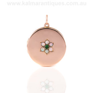 Antique rose gold opal locket