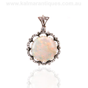 Antique opal and diamond pendant