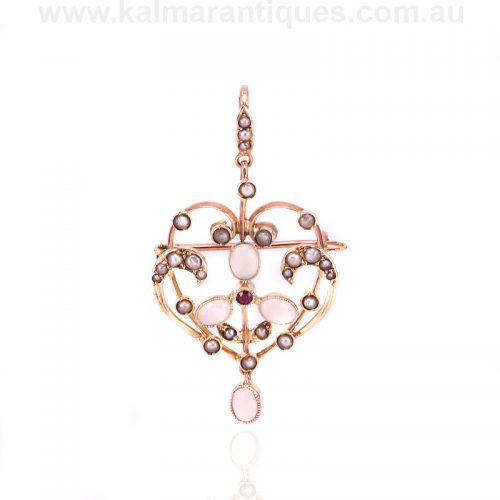antique opal, ruby and pearl pendant that converts to a brooch