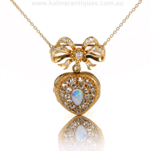 Antique opal and diamond broochpendant