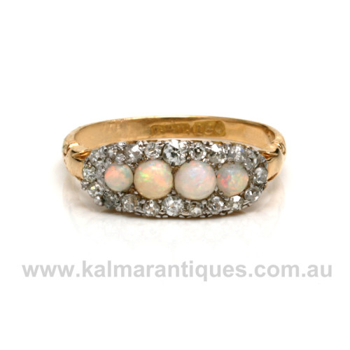 18ct antique opal and diamond ring