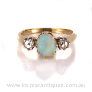 Antique opal and rose cut diamond ring