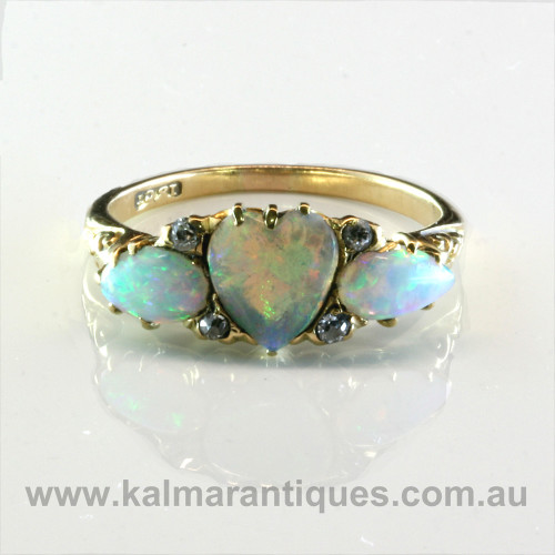 Antique opal and diamond ring from the early 1900's.