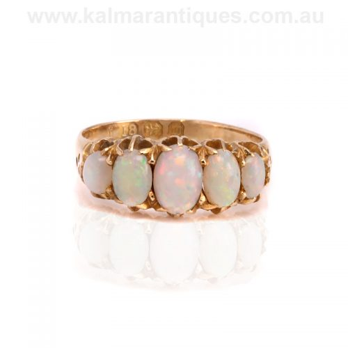 Antique 18ct gold Victorian era opal ring made in 1896
