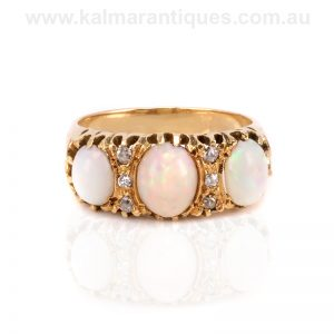 Antique opal and diamond ring made in the early 1900's