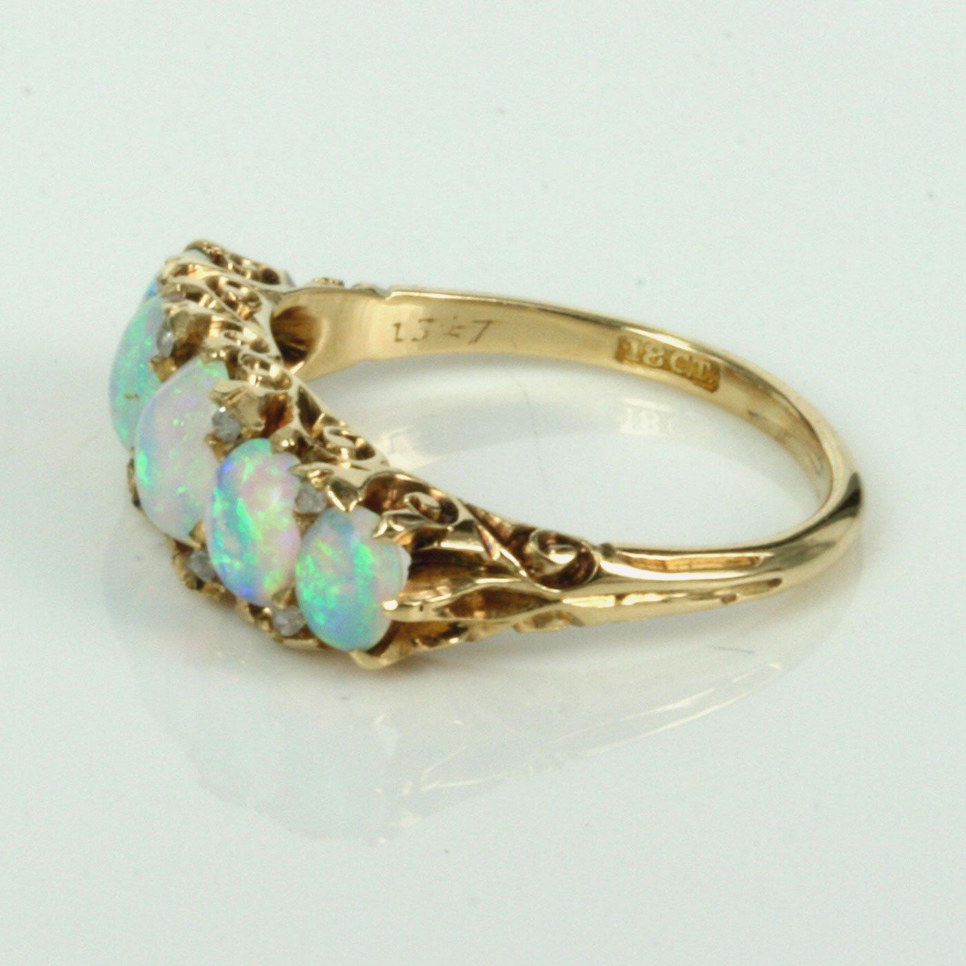 K Opal Diamond Ring