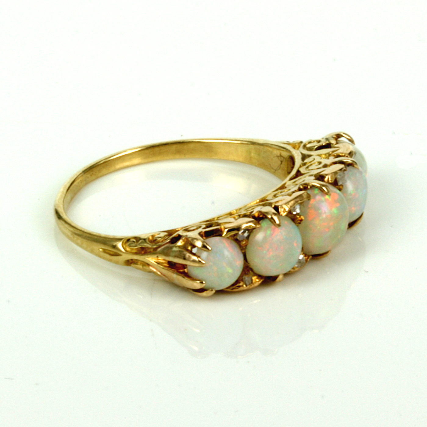 buy antique 5 opal ring set with 8 diamonds sold