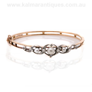 Antique pearl and diamond bangle Sydney