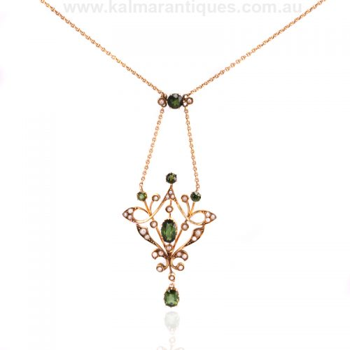 15ct tourmaline and pearl necklace by Duggin Shappere and Co