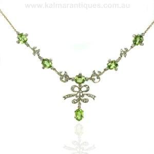 Antique peridot and diamond necklace
