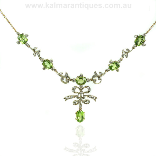 Antique peridot and diamond necklace