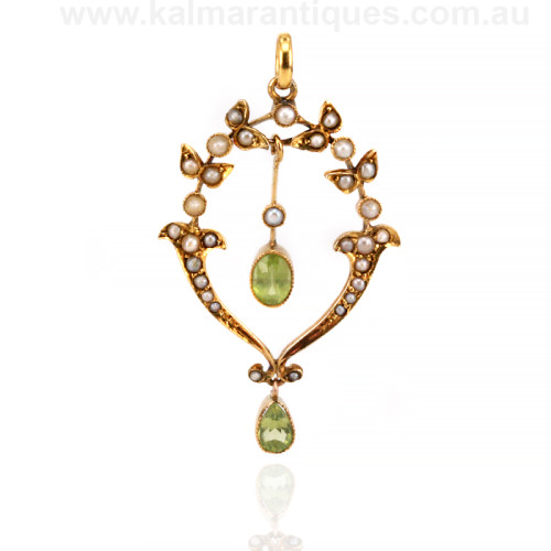 Edwardian era peridot and pearl pendant