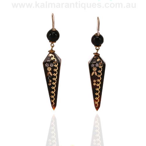 Antique pique drop earrings