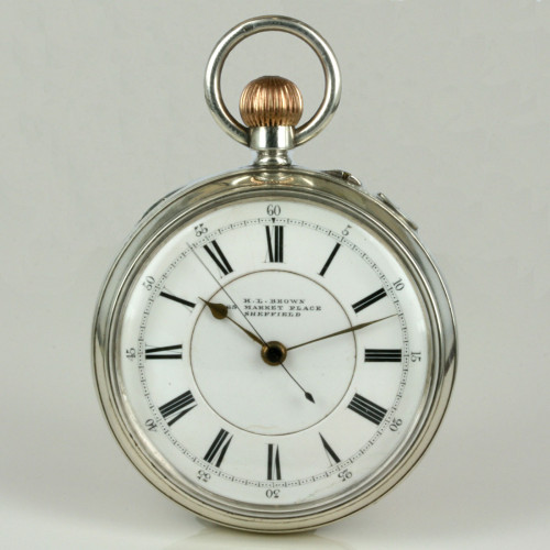 Silver antique pocket watch by H.L. Brown