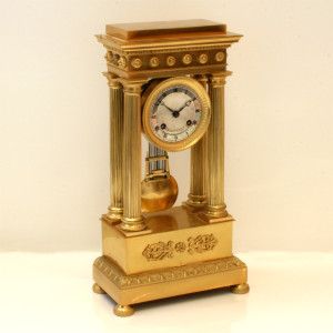Mid-19th Century antique portico clock by Raingo Freres.