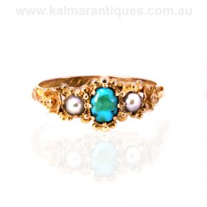 Victorian era antique turquoise and pearl ring engraved Mizpah inside