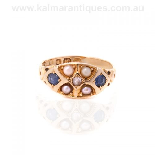Antique Victorian era sapphire, pearl and diamond ring