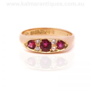 18ct yellow gold antique ruby and diamond ring made in 1904