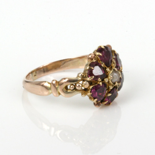 Antique Victorian era garnet and pearl ring
