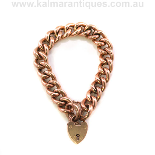 Antique rose gold curb link bracelet