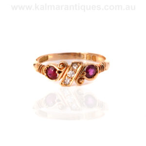 Antique ruby and diamond ring made in 1898