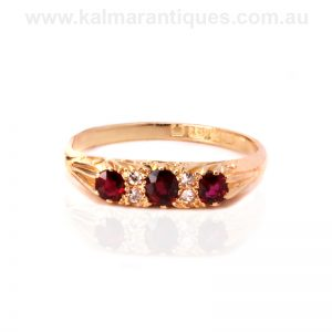 Antique ruby and diamond ring from the Edwardian era