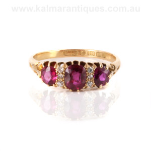 Antique ruby and diamond ring made in 1906