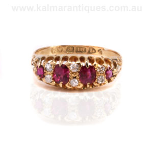 Antique ruby and diamond engagement ring