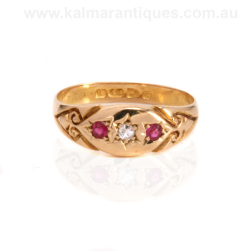 Antique ruby and diamond ring made in 1903
