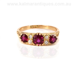 Antique ruby and diamond engagement ring Sydney